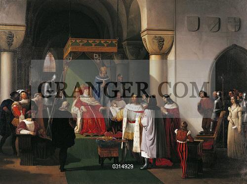 Image Of Fine Art Filippo Maria Visconti Duke Of Milan Returns The Crown To The Kings Of Aragona And Of Navarra Taken Prisoner By The Genoese By Francesco Hayez 1791 1882 Full