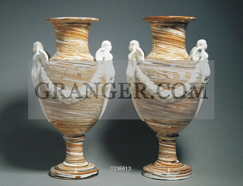 Image Of Decorative Arts Pair Of Vases Decorated With Faux Marble