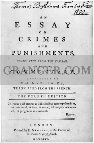 A Thesis For An Essay Should Title Page Of Cesare Beccarias An Essay On Crimes And Narrative Essay Thesis Statement Examples also Abortion Essay Thesis Image Of Beccaria Title Page  Title Page Of Cesare Beccarias An  Essay On The Yellow Wallpaper